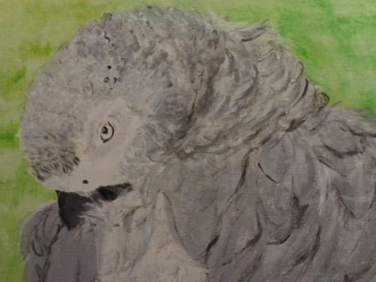 Detail of African Grey painting